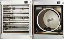 Sixfold tray and rotary drum for TETRA systems.